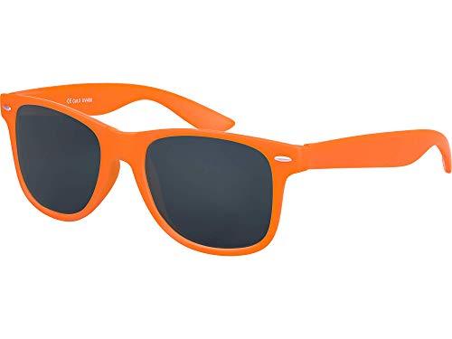 Balinco Hochwertige Nerd Sonnenbrille Rubber im Wayfarer Stil Retro Vintage Unisex Brille mit Federscharnier - 96 verschiedene Farben/Modelle wählbar (Orange - Smoke)
