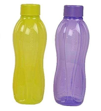 Tupperware Aqua-Safe Plastic Water Bottle (Orange and Green) (Set of 2) (1 Litre Each)