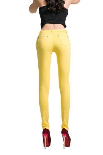 Pantaloni stretch Candy matita pantaloni a vita bassa Slim Fit jeans skinny da donna Yellow