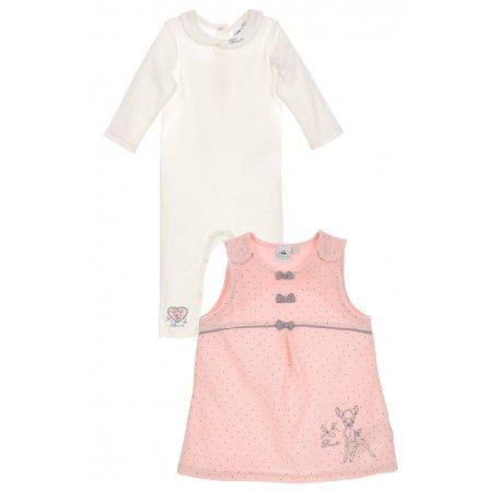 chen weiß rosa | Motiv: Bambi | Baby Strampler mit Kleid für Neugeborene & Kleinkinder | Größe: 3-6 Monate (68) ()
