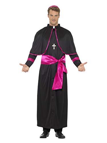 Smiffys Herren Kardinal Kostüm, Gewand, Gürtelband, Hut und Kreuz Kette, Größe: L, ()