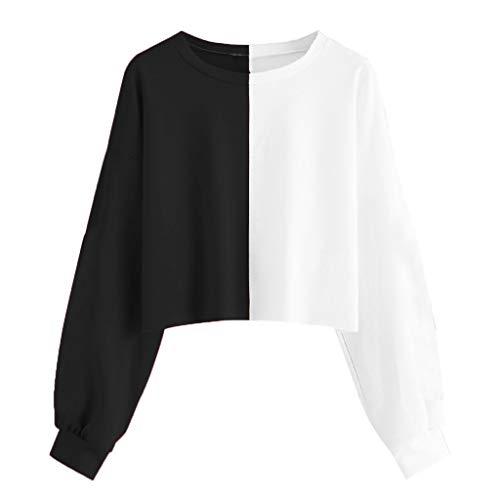 KUDICO Pulli Damen Hoodie Gestreift Patchwork Pullover mit Kapuzen Spleißen Farbe Langarm Sweatshirt Cropped Oberteile Kapuzenpullover (Schwarz, EU-38/CN-L) -