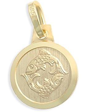 Sternzeichen Tierkreiszeichen Fische & Schutzengel 14 Karat Gold 585 Anhänger Durchmesser 10mm (Art.213130)