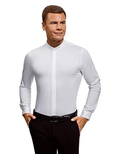 Oodji ultra uomo camicia slim fit con collo alla coreana, bianco, 38cm / it 42 / eu 38 / xs