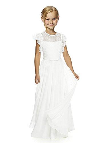 Izanoy Mädchen Spitze Blumenmädchen Kleid Erste Kommunion Festzug Kleid Weiß 4