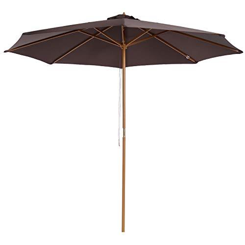 Outsunny Parasol Rond Grande Taille diamètre 3 m Bois Polyester Haute densité Chocolat
