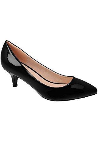 FANTASIA BOUTIQUE JLH022 Parker Pour Femmes Bas Chaton Cour Verni Bout Pointu Office Talons Chaussures Noir