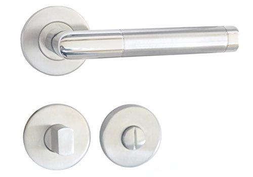 GARNITURA Emilia WC - Rosettengarnitur aus Edelstahl | Türbeschläge mit Türgriff | Rostfreie Renovierungsgarnitur für Badezimmertüren