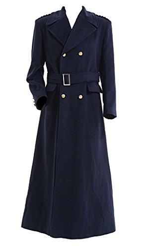 QianQian Herren Cosplay Kostüm Marine Jacke Graben Mantel Halloween Outfit (M, Marine)