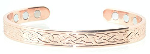 Copper bracelet for arthritis. Celtic design with magnets, commonly worn for pain relief.