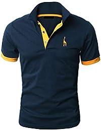 98947728538 YIPIN Hombre Polo de Manga Corta Bordado de Ciervo Deporte Golf Camisa  Poloshirt Negocios Camiseta de