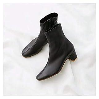 SCLDX Damen Mid Boots Seitlicher Reißverschluss Starker Absatz Runder Kopf Vintage Leder Herbst Winterstiefel Schwarz 37