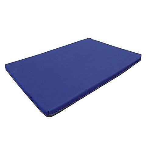 Medium Waterproof Orthopaedic Rectangle Memory Foam Dog Bed / Travel Mat | Blue | 82cm x 52cm x 5cm