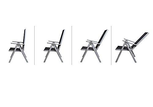 Alu Sitzgruppe 8+1 Sitzgarnitur Gartengarnitur Tischplatte aus Glas + klappbare und neigbare Stühle - 8