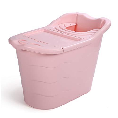 Kjz-bathtub Badewanne mit Deckel, hochwertigem Kunststoff Bad Barrel pet Erwachsene dusche Zylinder Bad multifunktions wäsche Eimer hohe kapazität (Color : Pink, Size : 98 * 57 * 64CM) -