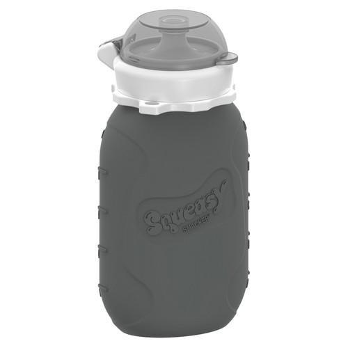 Squeasy Snacker, 180ml - Grau - Wiederverwendbares Quetschie aus Silikon. Quetschbeutel zum selbst befüllen, BPA-frei