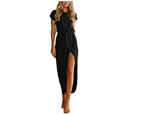 Yidarton Sommer Kleid Damen Shirt Kleider Lang Strandkleid Beach Kleid Partykleid Elegant Maxikleid(Schwarz1,M)