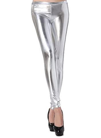 Zarlena Metallic Shiny Wet Look Leggings glänzend in vielen Farben Low Waist 34 36 38 Silber 250
