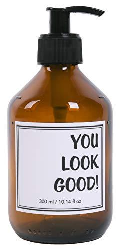 Lifestyle Lover Seifenspender 300ml aus Braunglas, Bernsteinfarben für Seife Spüli Shampoo Lotionen Braun Glas, You Look Good -