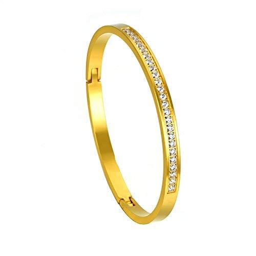 XIUDA Rose Gold Überzogene Armreif In Stein Eingerückt Edelstahl Mit Kristall Liebe Armreif Armbänder für Frauen und Männer für Weihnachtsgeschenk (Armbänder Gold Armreifen Dünne)