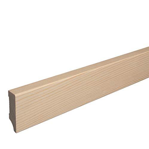 Massivholz-Sockelleiste Fichte ROH Weimarer Profil Moderne Fußleiste 60mm