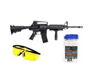 A4-RIS Softair-Gewehr Sturmgewehr Kommando Set inkl. 5000 Kugeln und Schutzbrille schwarz 6 mm Kinder-Gewehr Spielzeug-Gewehr Air-Soft unter 0,5 Joule ab 14 Jahre