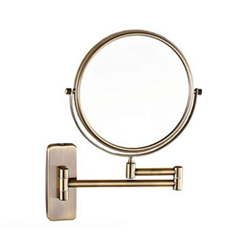 MCL Salle de Bains Tenture Murale Pliant télescopique Double-grossissement Maquillage Miroir (Vert Bronze) (Couleur : Green Bronze)