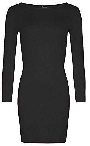 Fashion 4 Less - Robe - Moulante - Manches Longues - Femme Noir - Noir