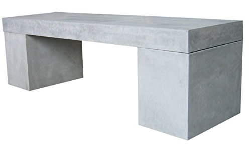 Beton Sitzbank 160x40x45 cm Massiv Leichtbeton Gartenbank Robust Betonbank