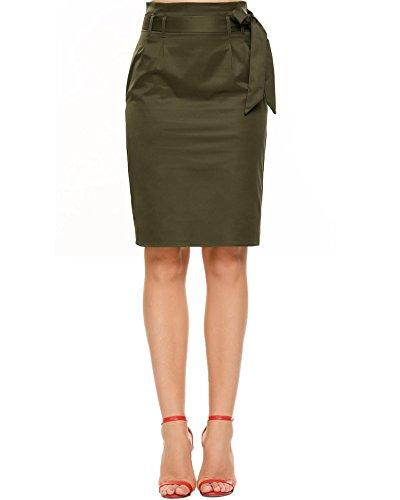 Chigant Damen Knielang Hohe Taile Bleistiftrock Stretch Bodycon Businessrock mit Gürtel Schleifen Pencil Rock mit Taschen (Reißverschluss Vorne Pencil-skirt)