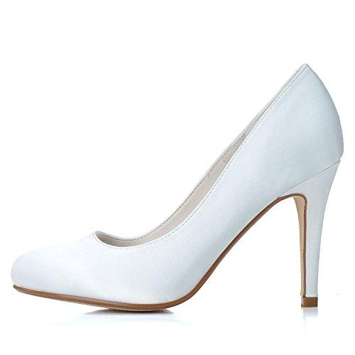 L@YC Scarpe Da Sposa Da Donna In Seta Da Sposa HG-5623-01 E Da Sera Tacchi alti Da Sera Con Fibbia In Raso / Di Lusso Bianco