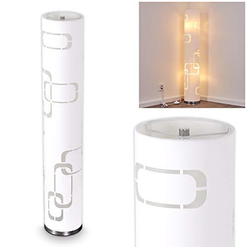 Stehlampe Tolbert, Vintage Stehleuchte mit Lichteffekt aus Metall/Stoff in Weiß/Chrom, Ø 19 cm, Höhe 110 cm, 2 x E14-Fassung, max. 30 Watt, mit Fußschalter, geeignet für LED Leuchtmittel