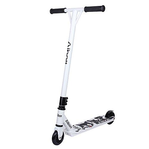 Preisvergleich Produktbild Albott Scooter Kickboard Pro Sport Trick Tretroller Cityroller klappbare Kufe mit 360° Spin Fixed Bar für Kinder Junge Erwachsene (weiß und schwarz)