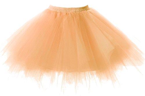 Poplarboy Damen Kurz 50er Vintage Petticoat Mehrfarbengroß Unterröcke Braut Crinoline Ballett Tutu Ball Underskirt Orange (Black Swan White Swan Kostüm)