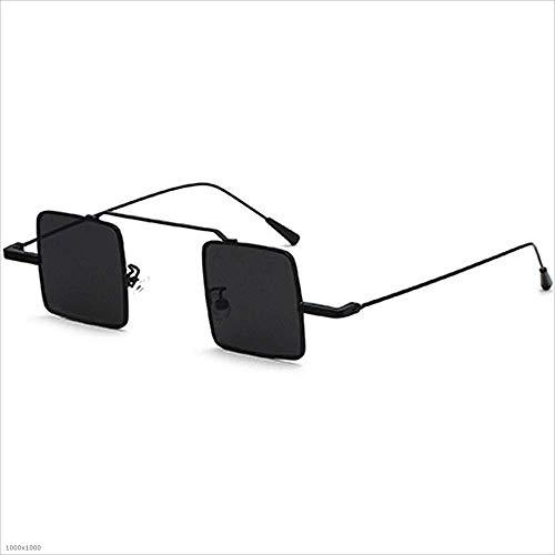 Yiph-Sunglass Sonnenbrillen Mode Kleine quadratische Sonnenbrille für Damen Herren Unisex-Sonnenbrille mit Metallrahmen (Farbe : Schwarz)