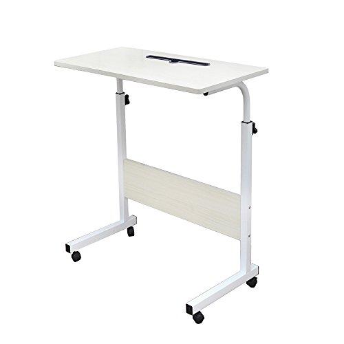 SogesFurniture Laptop Table Tavolino Altezza Regolabile, 60 * 40cm Portatile Tavolo Laptop Tavolo per Notebook PC, Acero Bianco 05#3-60MP-BH