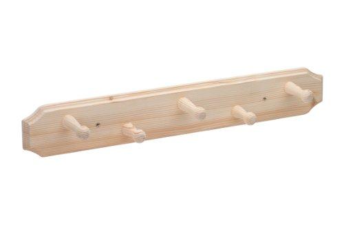 Metafranc Hakenleiste 600 mm - Fichte - Ansprechende Holzoptik - 5 Haken - Zur Wandmontage - Ideal für Flur oder Kinderzimmer / Garderobenleiste / Wand-Garderobe / Wandhaken / Kleiderhaken / 260489