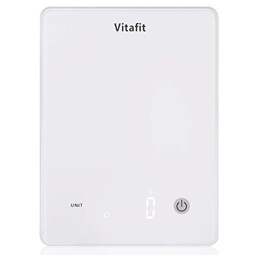 Vitafit Bilance da Cucina Digitale, Grande Capacità 10 kg/Alta Precisione 1g, Bilancia Pesa Alimenti con Piattaforma in Vetro Temperato e Display a LED, Design Ultra Sottile, Bianco Elegante