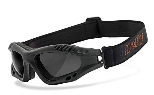 Helly® - No.1 Bikereyes®   beschlagfrei, winddicht, HLT® Kunststoff-Sicherheitsglas nach DIN EN 166   Motorradbrille   Brillengestell: schwarz matt, Brille: hellrider