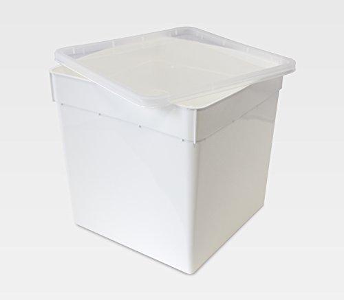 BraPlast Dose 5,8 Liter 18,5 x 18,5 x 19,0 cm - weiß mit transparentem Deckel / Kunststoff Stapelbox