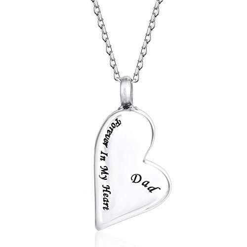 UBBC Halskette mit Urnenanhänger Forever in My Heart für Urne, für Andenken und Schmuck, Urnenanhänger - Dad