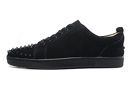 saman-baskets-unisexe-louis-orlato-veau-velours-lowtop-en-daim-noir-bout-rond-casual-chaussures-dent