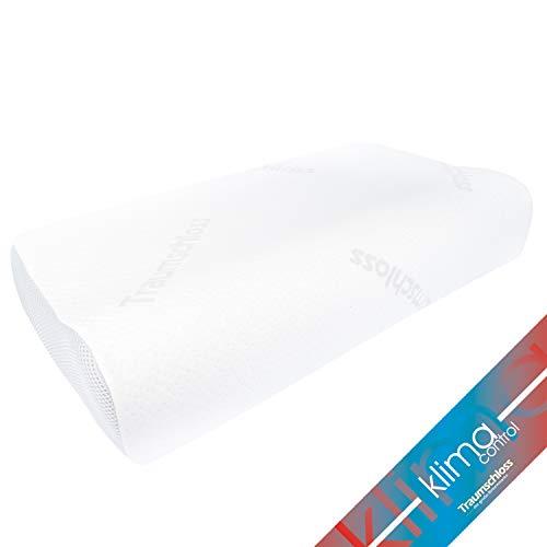 Traumschloss Klima Control Nackenstützkissen - Hightech Eucafeelschaum (RG45) für optimales Schlafklima mit aufkaschiertem elastischem Thermoschaum (atmungsaktiv) - 40x60 cm