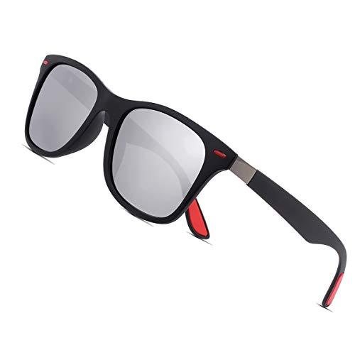 Sunmeet Polarisierte Sonnenbrillen Herren Damen Retro Fahren Elastizität Outdoor Eyewear Sonnenbrillen S1003(Silber schwarz)