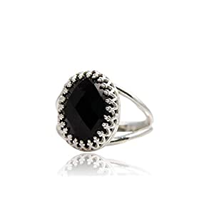 6CT Onyx Ring von Anemone Jewelry – Edles Oval Schwarzes Onyx in 925 Sterlingsilber – Toller Ovaler Edelstein in Silber…