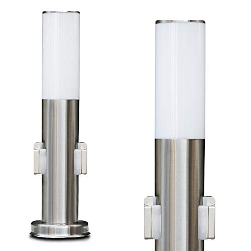 a mit 2 Steckdosen, moderne Sockelleuchte aus Edelstahl und Kunststoff-Scheiben, Wegeleuchte 45 cm, Gartenlampe mit E27-Fassung, max. 15 Watt, Gartenbeleuchtung IP44 ()