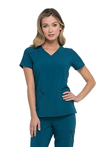 Caribbean Apparel (Dickies EDS Essentials by Women's Mock Wrap Solid Scrub Top X-Small Caribbean Blue)