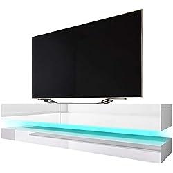 Aviator - Tableau TV à Effet Flottant/Meuble TV Suspendu avec LED Bleu Blanc Mat/Blanc Brillant 140x34x45 cm