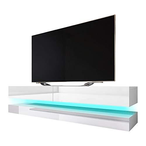 Selsey Aviator - TV-Board in Schwebeoptik / TV-Hängeschrank / Fernsehschrank Weiß matt / weiß Hochglanz mit LED blau, 140 cm