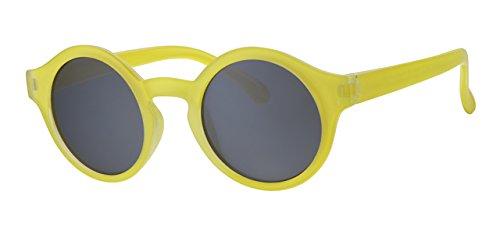 Eyewear World Kinder-Sonnenbrille, rund, Kunststoff, gelber Rahmen, Schwarze Gläser
